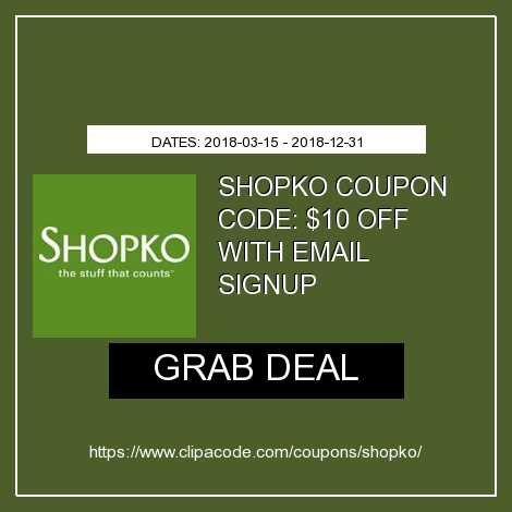 picture about Shopko Printable Coupons titled Shopko Electronic mail Signup $10 Off $30 Price reduction - Shopko Coupon Codes