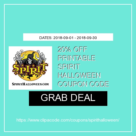 spirit halloween printable coupon code 20 in store off single item