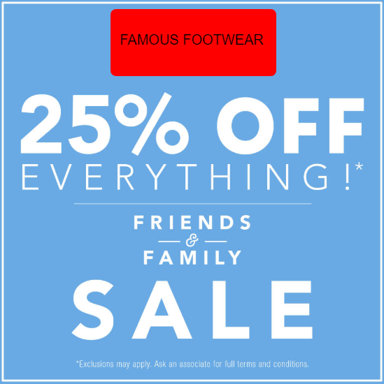 10bcda8bba73 Famousfootwear Coupon Code  25% Off Friends   Family Event