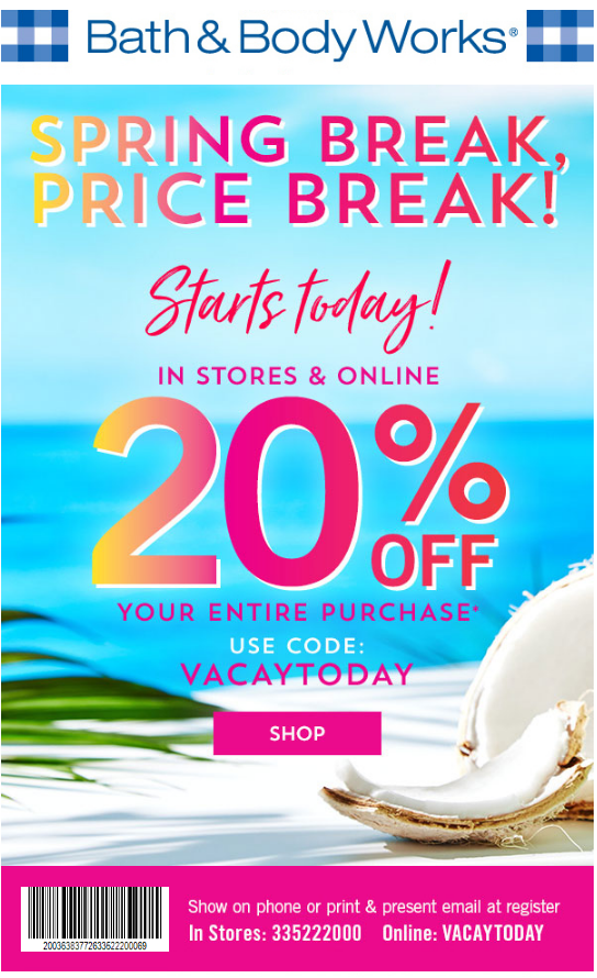 Bath And Body Works In Store Coupon 20 Off