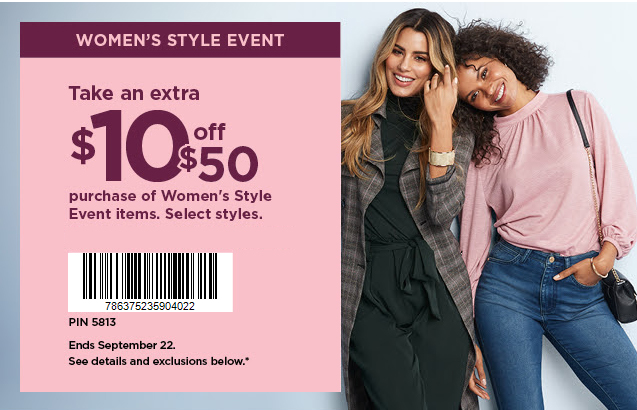 $10 Off Women's Purchases Kohls Printable Coupon September 2020